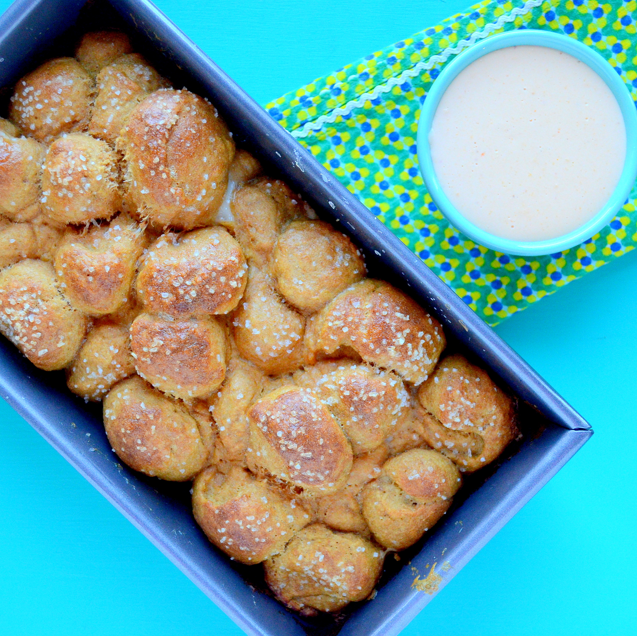 Whole-Wheat Pretzel Monkey Bread and Beer Cheese