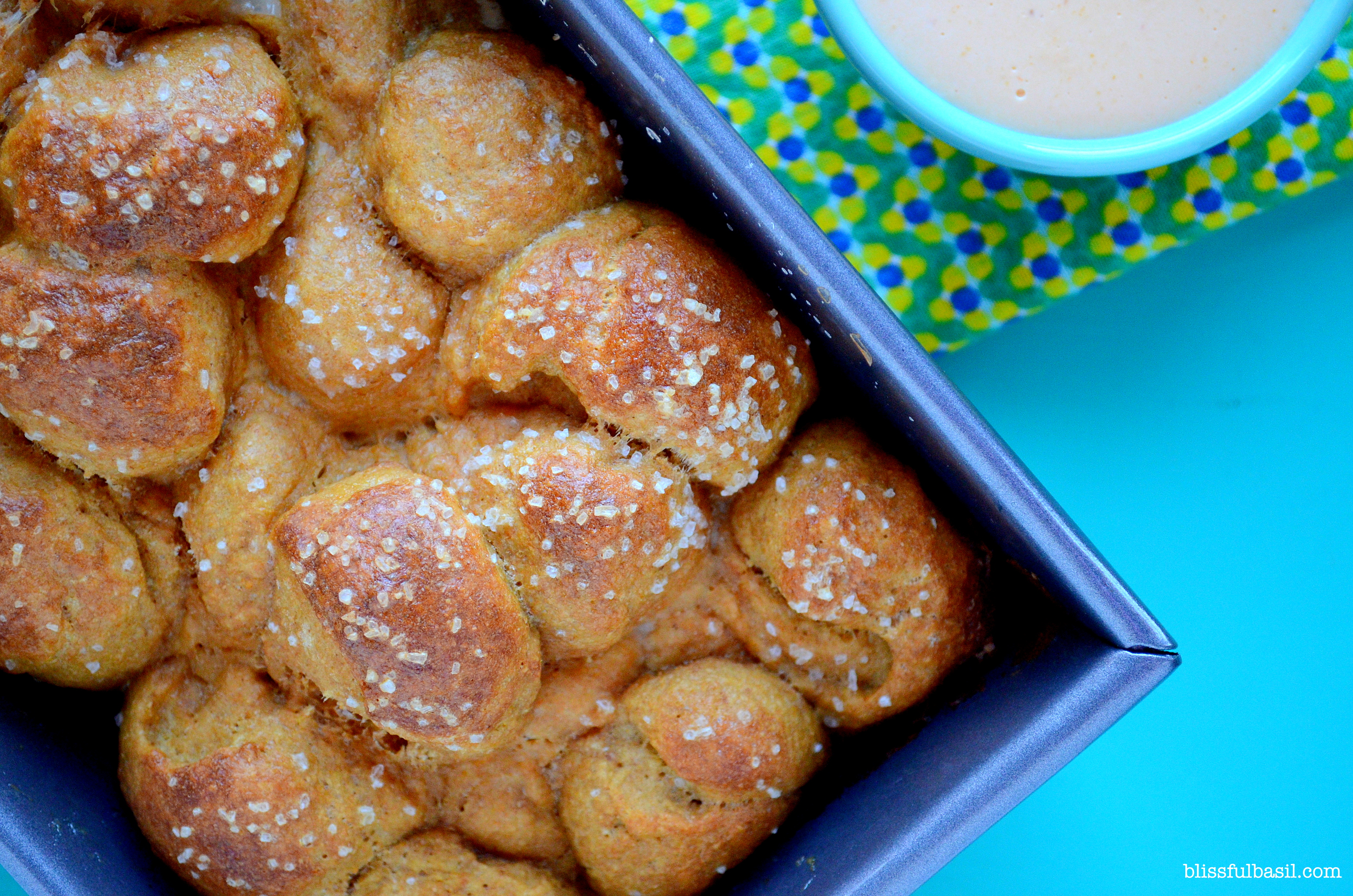 Whole-Wheat Pretzel Monkey Bread with Beer Cheese